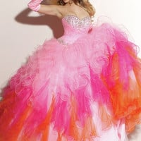 Charming Ball Gown Sweetheart Neckline Beadings Floor Length Organza Prom Dress from SinoSpecial