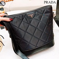 Prada New fashion shoulder bag women bucket bag crossbody bag Black