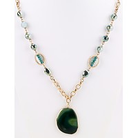 Stone Pendant Long Necklace - Green