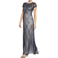 Adrianna Papell Womens Embellished Prom Evening Dress