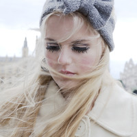 Knitted Bow Headband, Knitted Headband, Cute and Cosy Ear Warmer in Grey