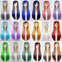 Long straight black/white/pink anime cosplay wigs,women's blond/red synthetic hair wig peruca,blue/brown full hair wigs