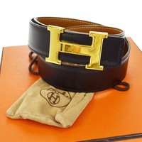 Auth HERMES Vintage H Logos Buckle Constance Reversible Belt Leather JT04105