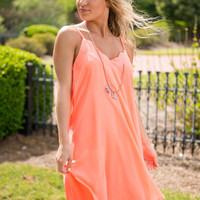 Changed My Mind Dress, Neon Coral
