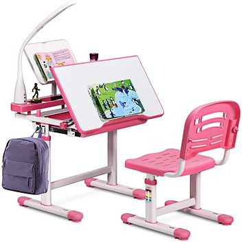 Kids Desk and Chair Set, Height Adjustable, with Book Stand, Pull Out Spacious Storage Drawer, LED Lamp
