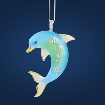 Glass Baron Dolphin Glass Ornament