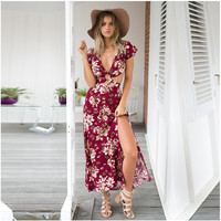 Fashion Flower Print Deep V Hollow Backless Short Sleeve Split Maxi Dress