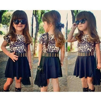 Kids Girl's Wear Fashion Short Sleeve Leopard T-shirt and Pleated Skirt 2PCS Dress Sets with Belt = 1655768964