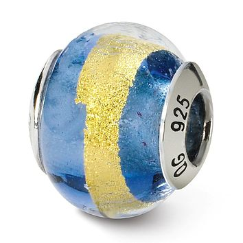 Sterling Silver, Blue and Yellow Striped Murano Glass Charm