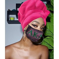 Pink AKA Slip On Satin Lined Headwrap and Mask