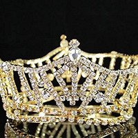 Miss America Full Crown Austrian Rhinestone Crystal Tiara Pageant Bridal T1297g Gold