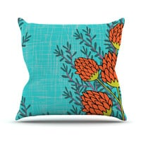 """Nandita Singh """"Red Flowers"""" Outdoor Throw Pillow, 16"""" x 16"""" - Outlet Item"""