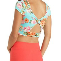 Floral Print Bow-Back Crop Top by Charlotte Russe
