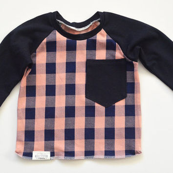 Baby/Toddler Buffalo Plaid Baby Girl Clothes, Baby Girl Shirts, Girl Toddler, Toddler Gift, Baby Gift, Modern Baby Clothes, Kids Tshirts