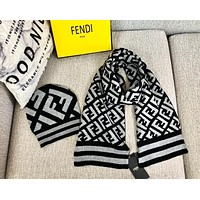 FENDI Autumn Winter High Quality Couple Warmer Knit Hat Cap Scarf Set Two-Piece Grey