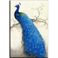 Piy Painting® W760 Beautiful Peacock on the Tree Canvas Prints for Bedroom/Living room, Oil Painting HD Reproduction Wall Art Decoration, Framed, Stretched and Ready to hang (Blue, 1 Panel)