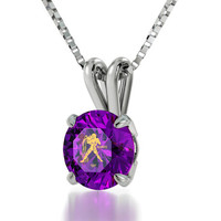 Zodiac Jewelry - Aquarius Necklace Inscribed on Cubic Zirconia Pendant with Star Sign in 24kt Gold - Birthday Gift for Her - FREE SHIPPING