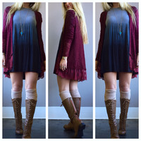 A Bohemian Dreams Lace Cardi in Wine