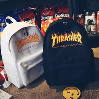 Thrasher College Stylish Hot Deal Casual Back To School Comfort Canvas Backpack Black white two style