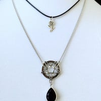 Pentagram Necklace, Black Teardrop Crystal, Witchy Jewelry, Gothic Jewelry, Rose Choker, Inverted Pentagram, Rose Necklace, Jewelry Set