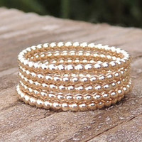 Gold Ball Ring, like gold pearls, Stacking Ring, little ball ring, rose gold ball ring, ball stacking ring