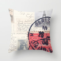 Postale Paris Throw Pillow by Msimioni