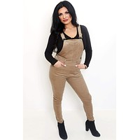 Taupe Stretch Corduroy Overalls