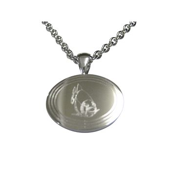 Silver Toned Etched Oval Piranha Fish Pendant Necklace