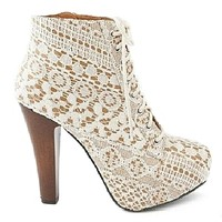 Puffin-39 Ivory Lace Vintage Lace-up Bootie Chunky Heels