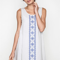 Embroidered Tank Dress - Cool Grey