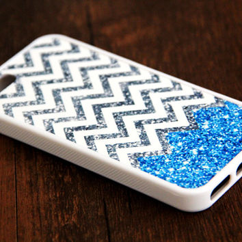 Blue Glitter iPhone and Samsung Galaxy Rubber Case