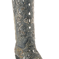 Corral Women's Black Crater White Inlay Cowgirl Boots