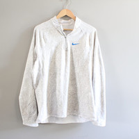 Nike Pullover White Nike Long Tee Zip Up Pullover Sweatshirt Minimalist Unisex Vintage Size XL #T154A