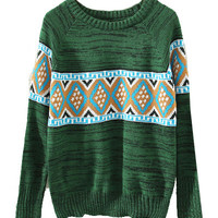 Green Tribal Print Knit Sweater