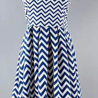 Wave Printed Strappy Skater Dress