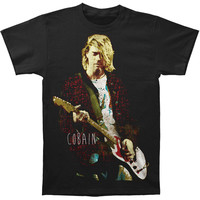 Nirvana Men's  Kurt Cobain Red Jacket Guitar Photo T-shirt Black