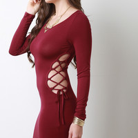 Double Side Lace Up Long Sleeves Bodycon Mini Dress