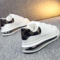 LV Louis Vuitton Embossed Letter Air Cushion Casual White Shoes Men's and Women's Sports Shoes White