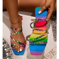 Summer Explosive Rhinestone Rainbow Sandals