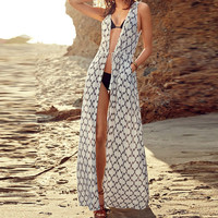 Summer bohemian women sleeveless sexy white Chiffon dress long maxi hippie boho