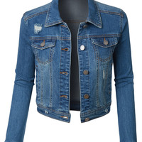 LE3NO Womens Vintage Ripped Long Sleeve Cropped Denim Jean jacket