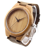 New arrival japanese miyota 2035 movement wristwatches genuine leather bamboo wooden watches for men and women christmas gifts = 1932737540