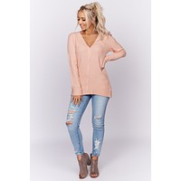 Stand Out Button Up Cardigan (Blush)