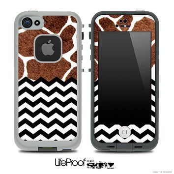 Mixed Real Giraffe and Chevron Pattern Skin for the iPhone 5 or 4/4s LifeProof Case