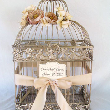 Champagne Bird Cage Card Box With Champagne Ranunculus / Wedding Card Holder Birdcage / Wedding Birdcage