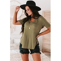 Clear Skies V-Neck Tee (Moss)