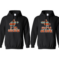 """Tribal Hands """"I'm Hers"""" & """" He's Mine"""" Hoodies for Couples"""