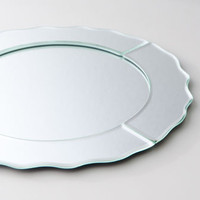 Mirrored Charger Plate Scalloped Tray