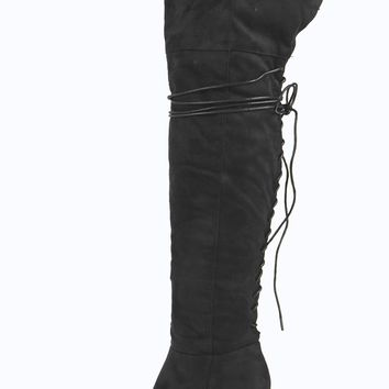 Amy Lace Up Back Over Knee Block Heel Boot
