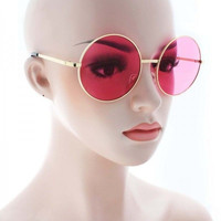 EXAGGERATED OVERSIZE VINTAGE Style SUNGLASSES Round Gold Frame